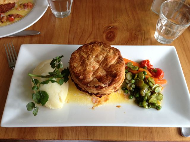 Tarte de Lapin et Truffe. Rabbit, ham & truffle pie served with a ménage of baby vegetables and pomme puree