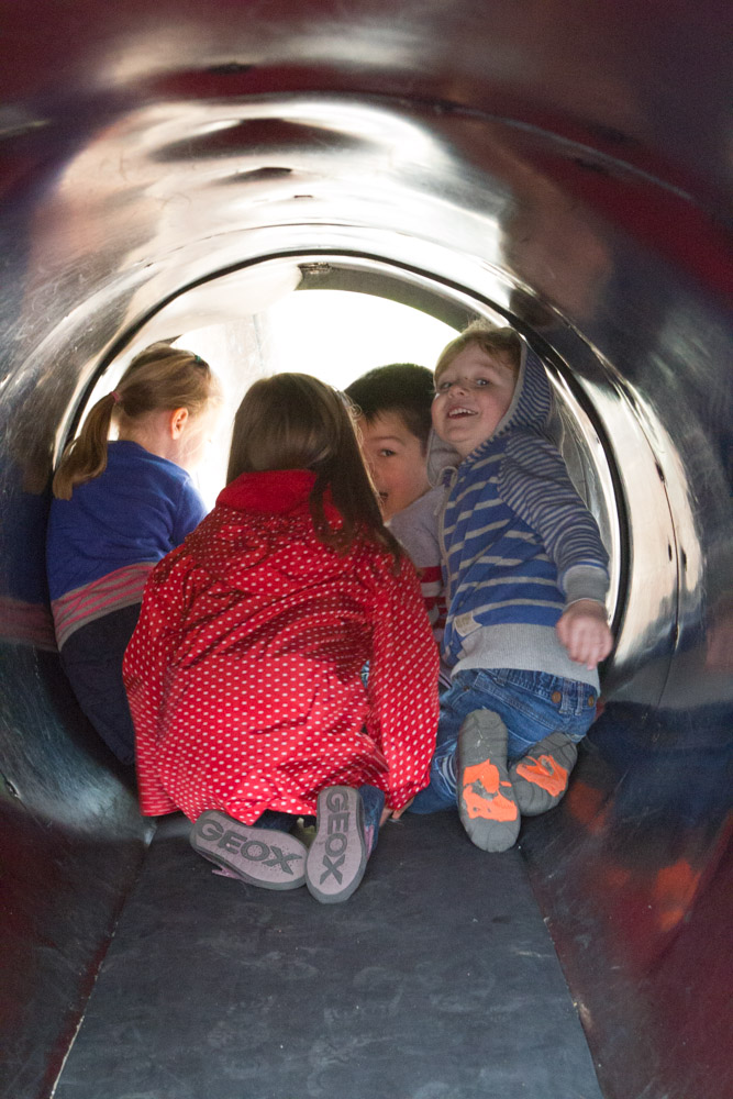 The littlies enjoyed the little tunnel that puts them amongst the monkeys!